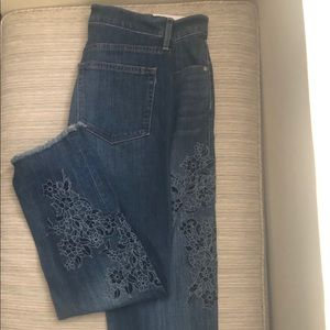 Loft Embroidered Boyfriend Jeans